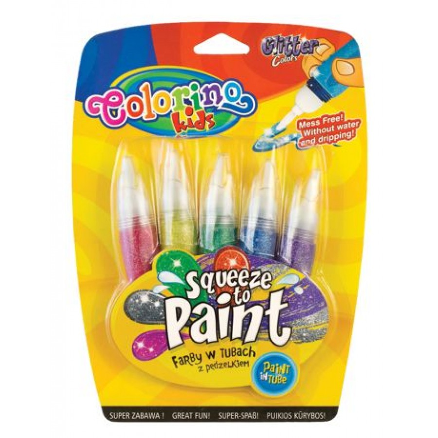 Glitter paints in tubes with brushes 5 colours