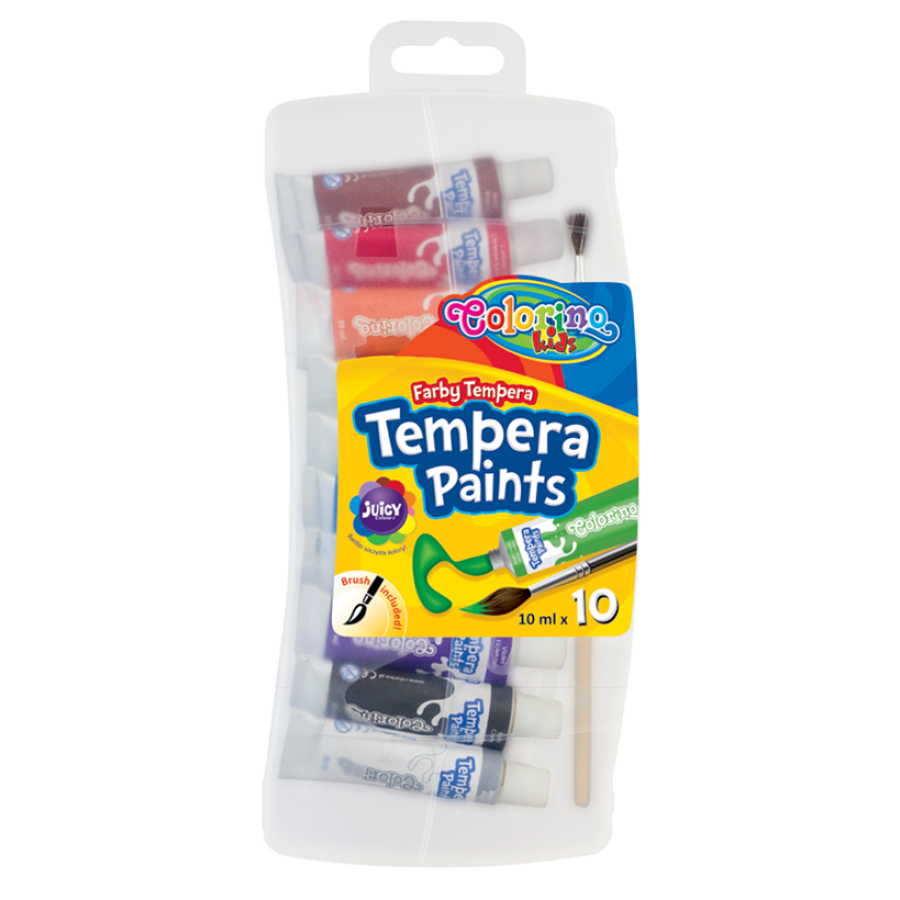 Tempera paints in tubes 10 ml with brush 10 colours
