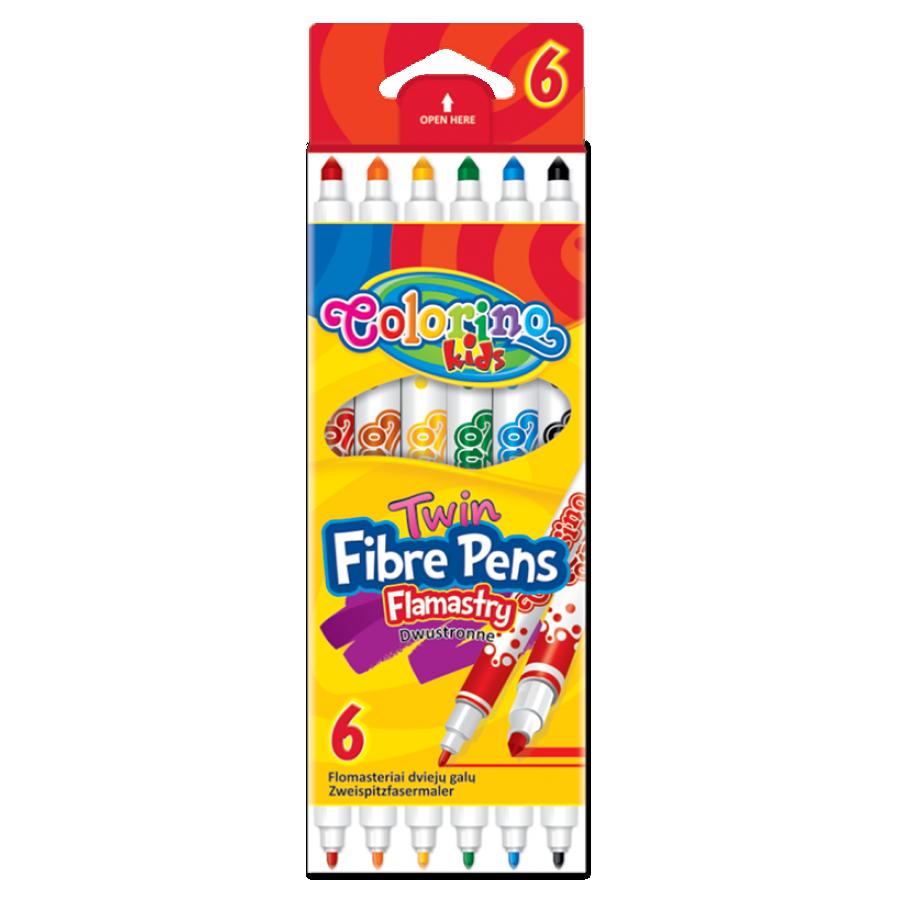 Double tip fibre pens 6 colours