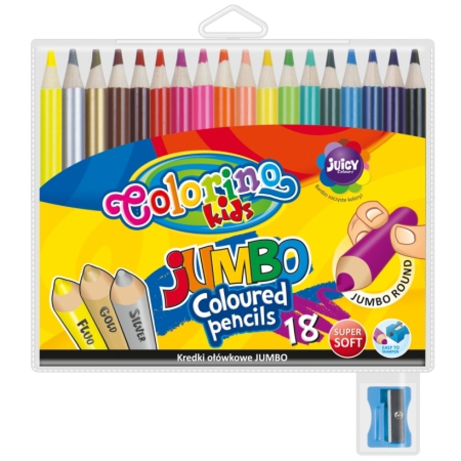 JUMBO round coloured pencils 15 cm 18 colours with sharpener