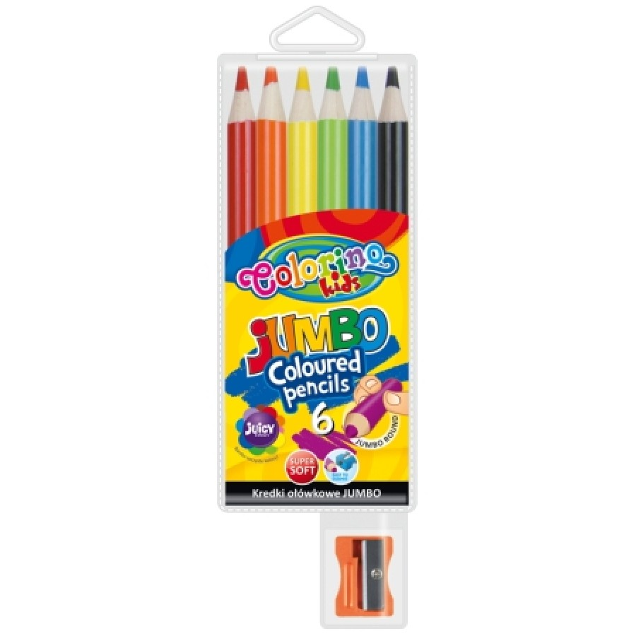 JUMBO round coloured pencils 15 cm 6 colours with sharpener