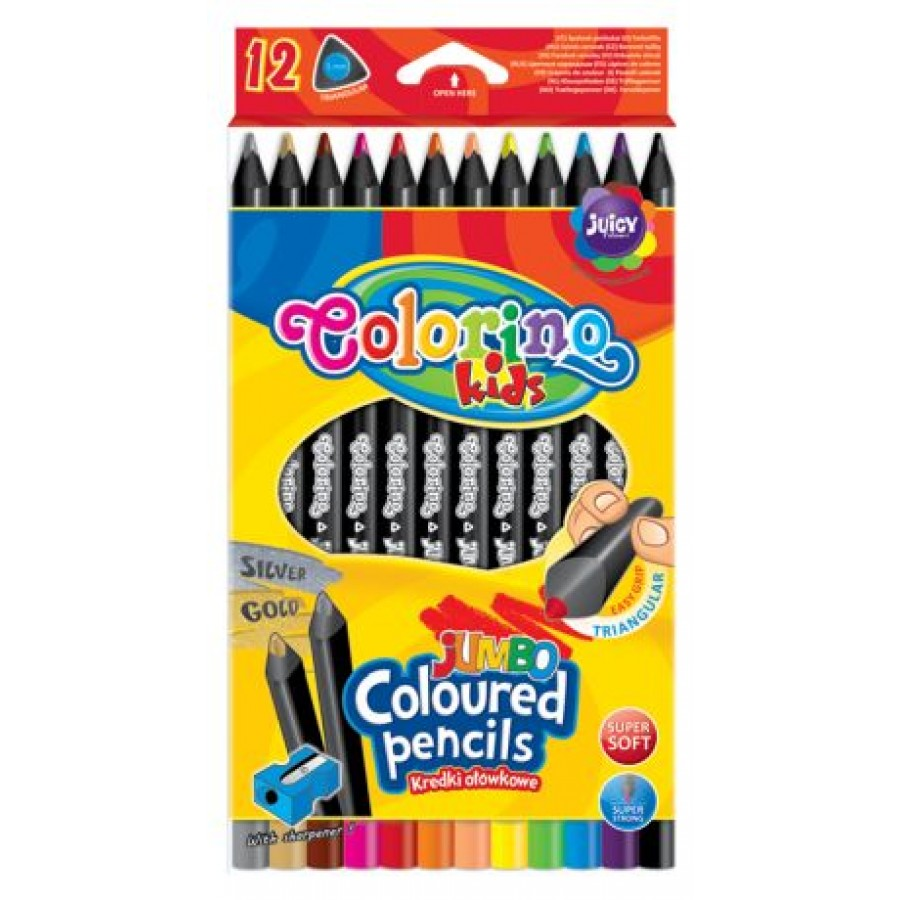 JUMBO triangular coloured pencils 12 colours with sharpener, black wood