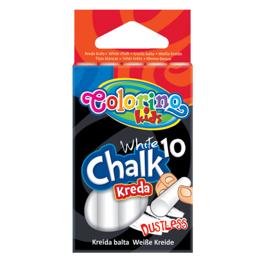 Dustless white chalk 10 pcs.