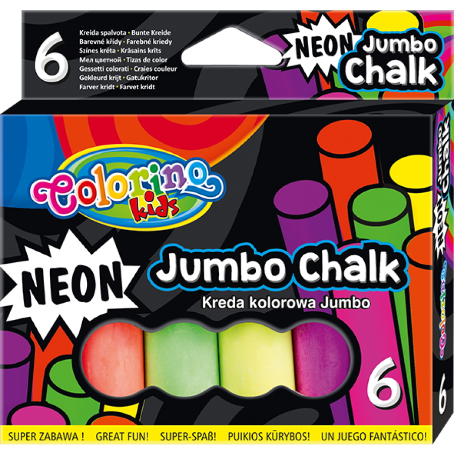 JUMBO coloured chalk neon colours 6 pcs.