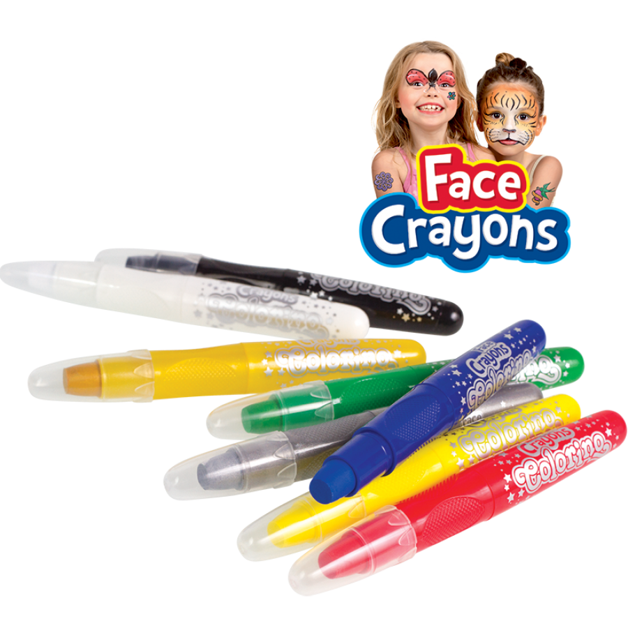 Face crayons 8 colours display 40 pcs.