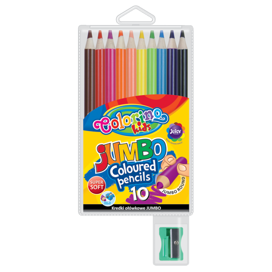 JUMBO round coloured pencils 17,5 cm 10 colours with sharpener