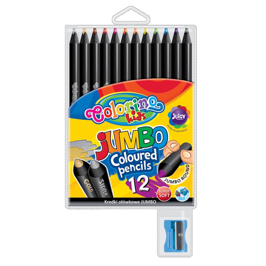 JUMBO round coloured pencils 12 colours black wood