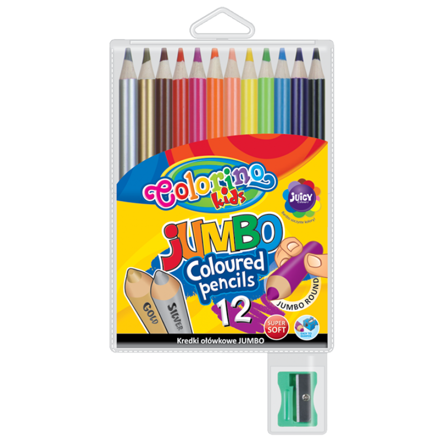 JUMBO round coloured pencils 17,5 cm 12 colours with sharpener