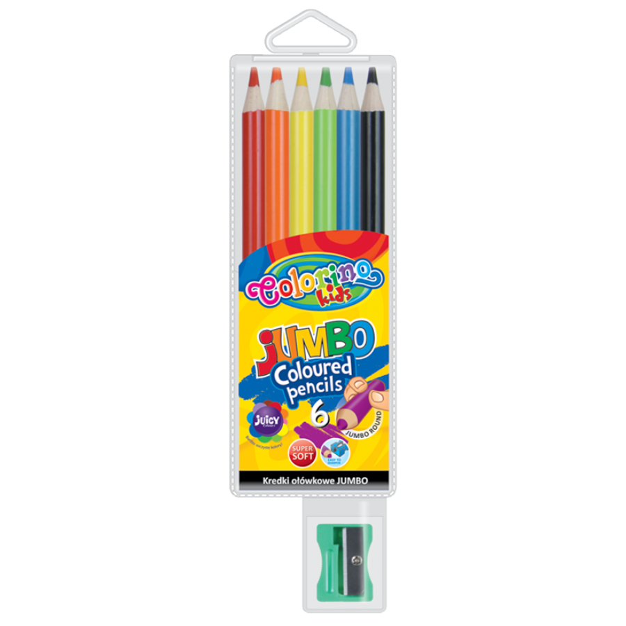JUMBO round coloured pencils 17,5 cm 6 colours with sharpener