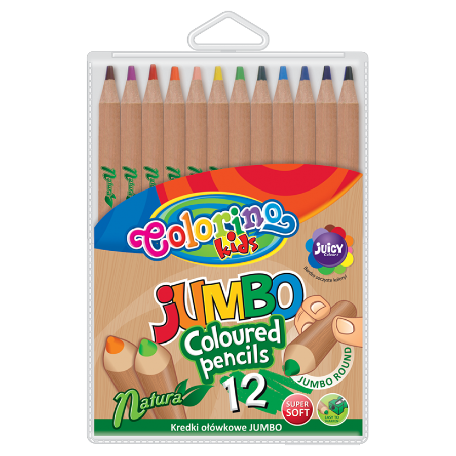 JUMBO round coloured pencils natural wood 12 colours