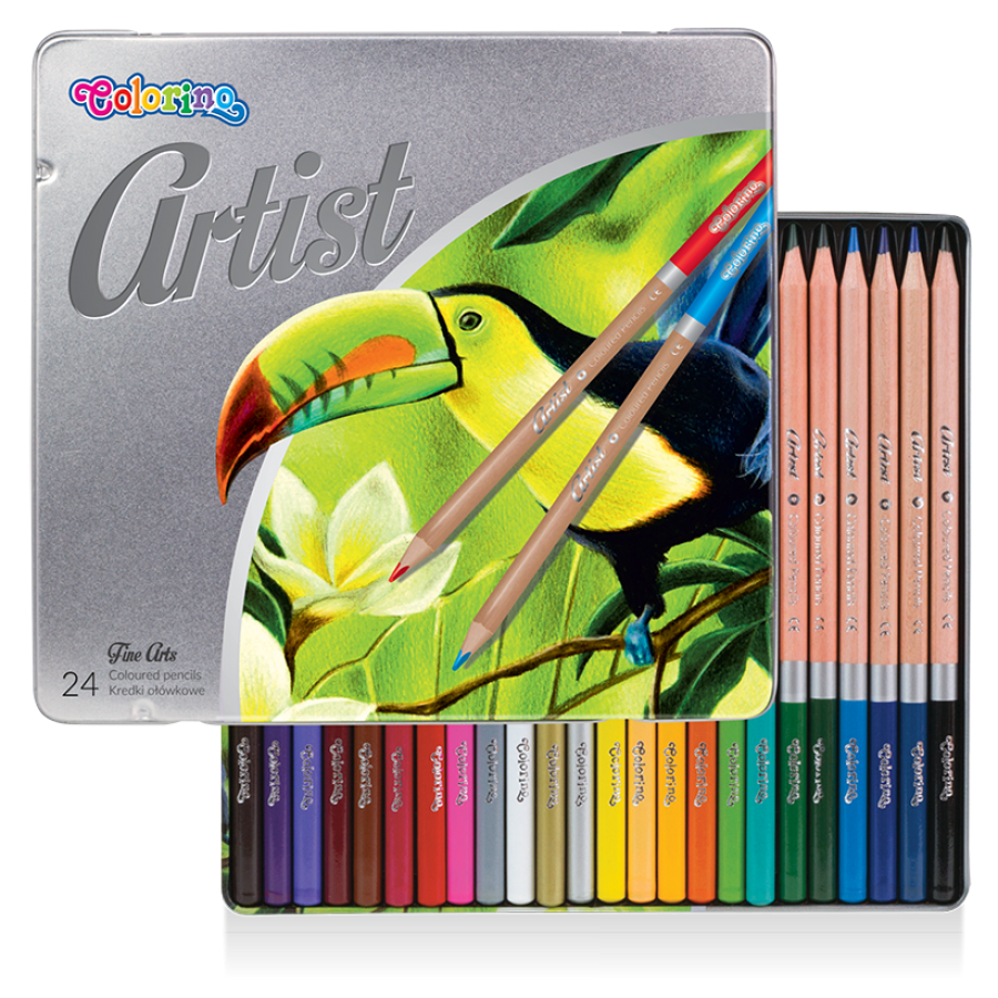 Artist coloured pencils 24 colours, metal box