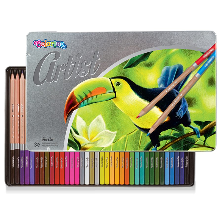 Artist coloured pencils 36 colours, metal box