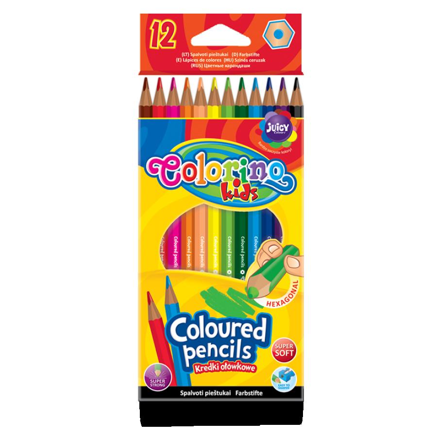 Hexagonal coloured pencils 12 colours