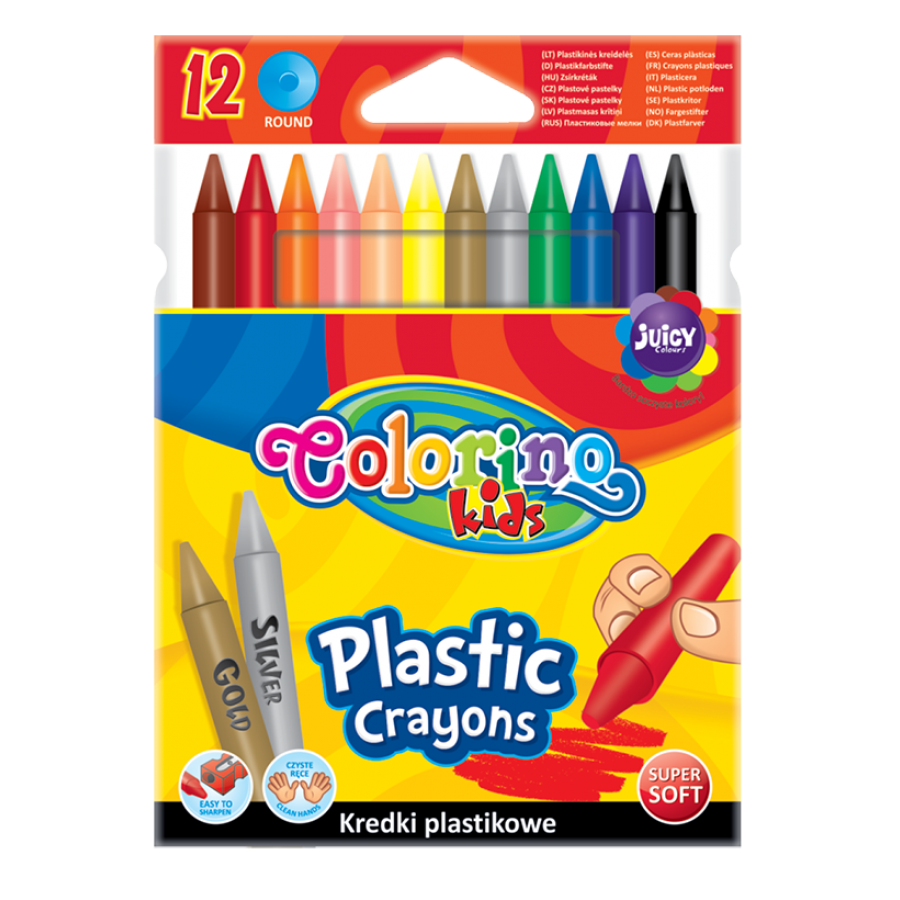 Round plastic crayons 12 colours