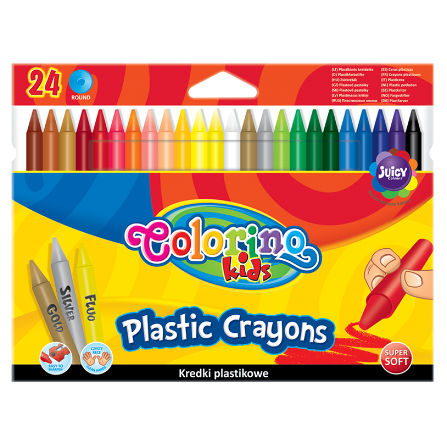 Round plastic crayons 24 colours
