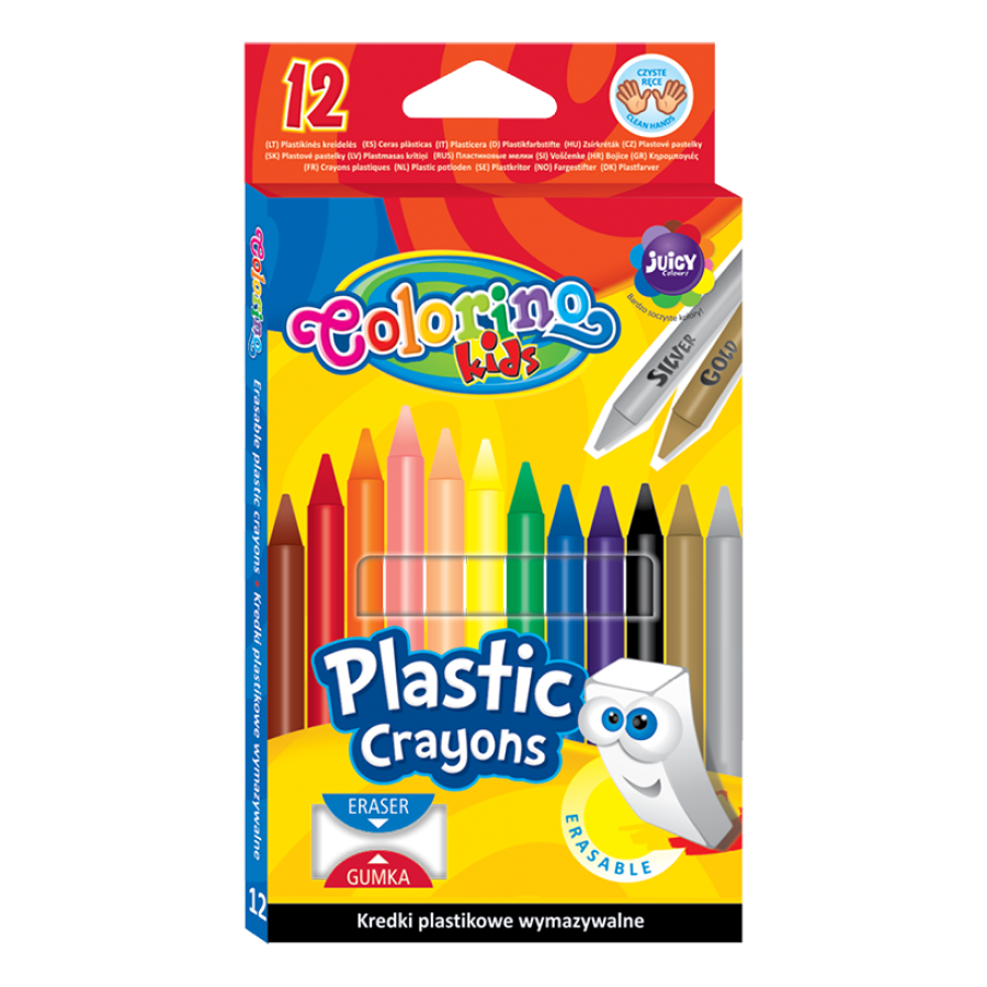 Erasable plastic crayons 12 colours