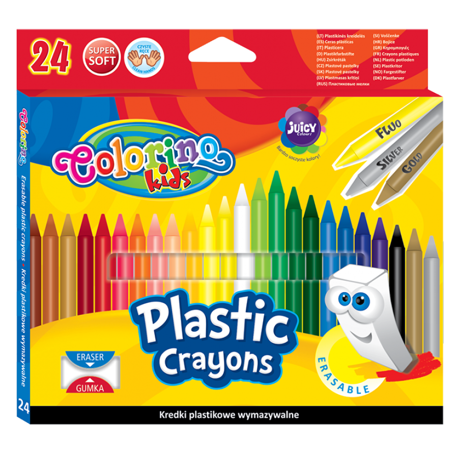 Erasable plastic crayons 24 colours