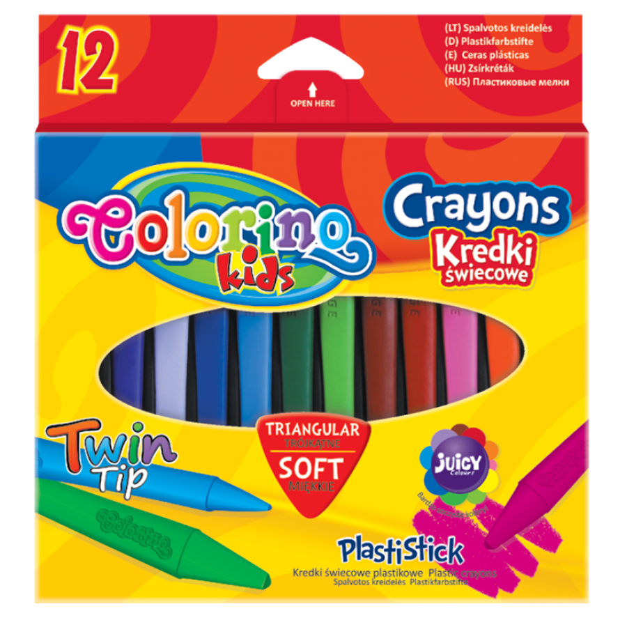 Plastic triangular crayons PlastiStick 12 colours