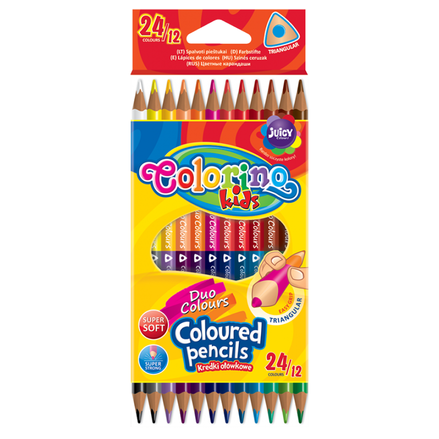 Double ended triangular coloured pencils 12 pcs. / 24 colours