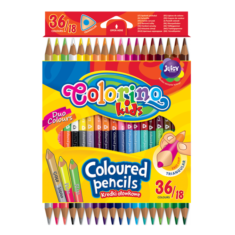 Double ended triangular coloured pencils 18 pcs. / 36 colours