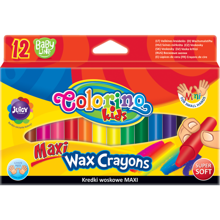 Maxi wax crayons 12 colours